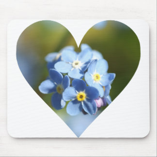 Forget Me Nots Heart Mouse Pad