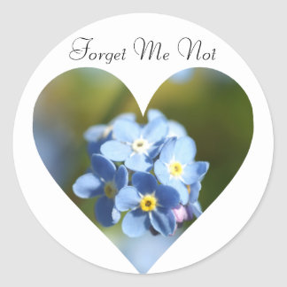 Forget Me Nots Heart Classic Round Sticker