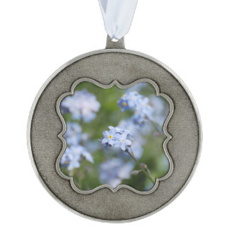 Forget Me Nots Scalloped Pewter Ornament