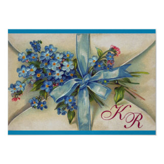 FORGET ME NOTS MONOGRAM ,BLUE WEDDING PARTY silver Card