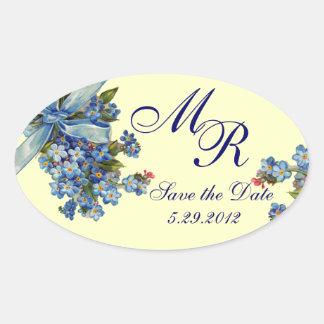 FORGET ME NOTS MONOGRAM ,WEDDING PARTY blue cream Oval Sticker