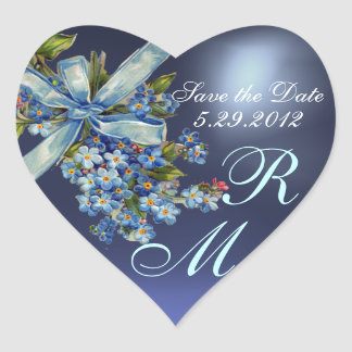 FORGET ME NOTS MONOGRAM ,WEDDING PARTY blue gem Heart Sticker