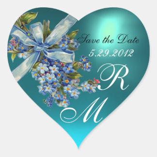 FORGET ME NOTS MONOGRAM ,WEDDING PARTY blue gem Heart Sticker