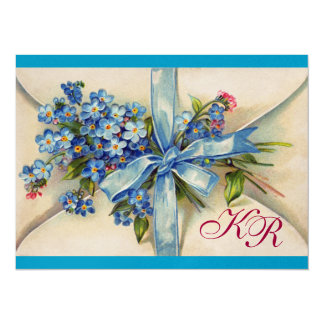 FORGET ME NOTS MONOGRAM ,WEDDING PARTY blue gold Card