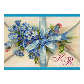 FORGET ME NOTS MONOGRAM ,WEDDING PARTY blue metal 5.5x7.5 Paper Invitation Card