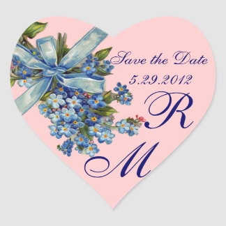 FORGET ME NOTS MONOGRAM ,WEDDING PARTY blue pink Heart Sticker