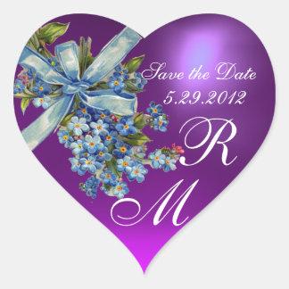 FORGET ME NOTS MONOGRAM ,WEDDING PARTY blue purple Heart Sticker