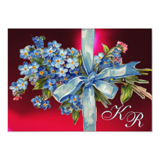 FORGET ME NOTS MONOGRAM WEDDING PARTY blue red Card