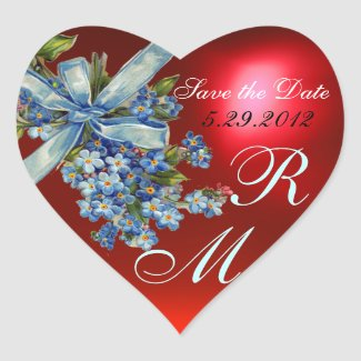 FORGET ME NOTS MONOGRAM ,WEDDING PARTY blue red sticker