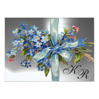 FORGET ME NOTS MONOGRAM WEDDING PARTY blue white Card