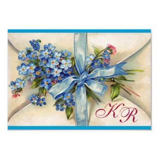 FORGET ME NOTS MONOGRAM ,WEDDING PARTY RSVP blue Card