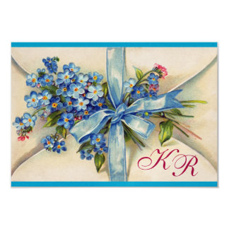 FORGET ME NOTS MONOGRAM WEDDING RSVP blue metal Card
