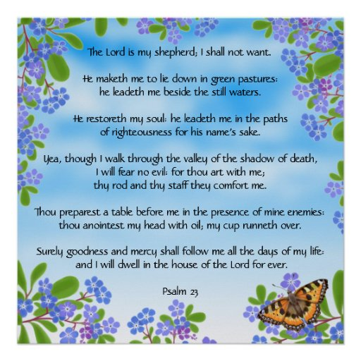 Forget Me Nots Psalm 23 Bible Verse Print