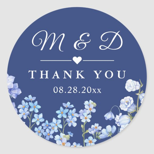 Forget Me Nots Royal Blue Fl Wedding Favor Clic Round Sticker
