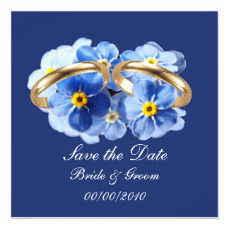 """Forget Me Nots, Save the Date card 5.25"""" Square Invitation Card"""