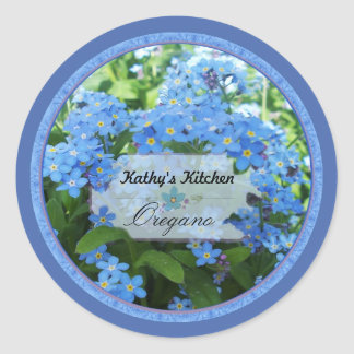 Forget me nots spice jar labels 3 classic round sticker