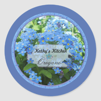 Forget me nots spice jar labels 3b classic round sticker