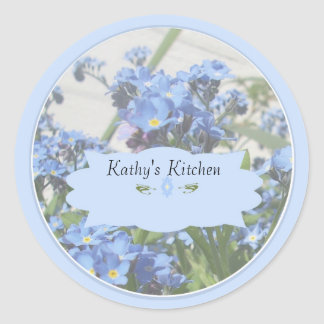 Forget me nots spice jar labels classic round sticker