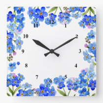 Forget-Me-Nots Square Wall Clock