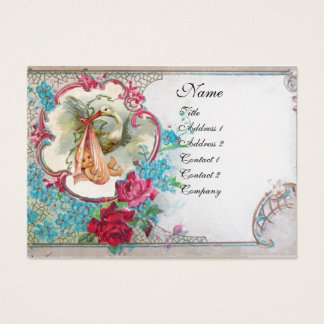 FORGET ME NOTS STORK BABY SHOWER 2 MONOGRAM white Business Card
