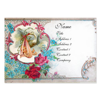 FORGET ME NOTS STORK BABY SHOWER 2 MONOGRAM white Business Cards