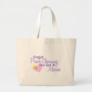 Forget Prince Charming - Marine Large Tote Bag