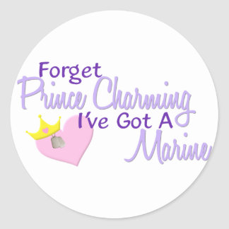 Forget Prince Charming - Marine Round Stickers