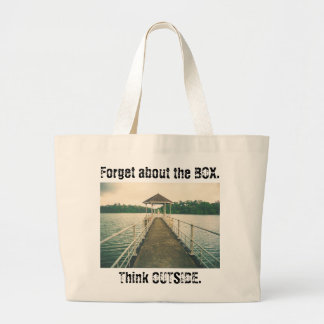 Forget the Box Think Outside. Retro Lake with Dock Large Tote Bag