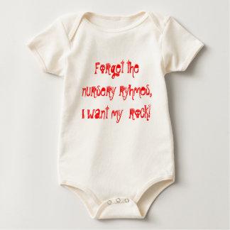 Forget the nursery ryhmes,  I want my  rock! Baby Bodysuit