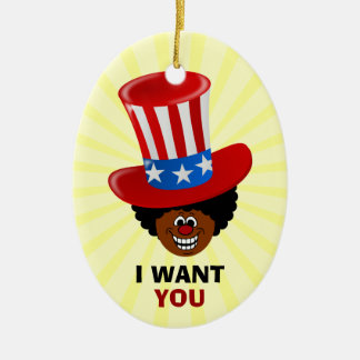 """Forget Uncle Sam, Uncle Tim patriotic """"I WANT YOU"""" Ornament"""