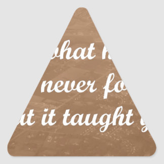 forget what hurt you, remember what you learned triangle sticker