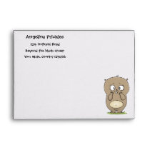 Forgetful adorable chubby hamster cartoon envelope