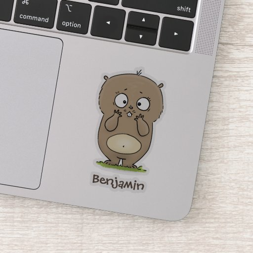 Forgetful adorable chubby hamster cartoon sticker