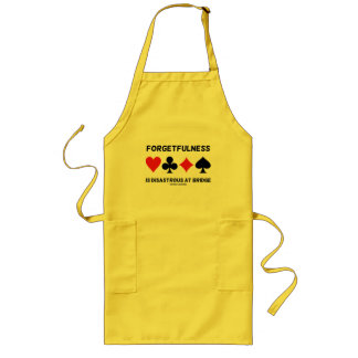 Forgetfulness Is Disastrous At Bridge (Card Suits) Long Apron