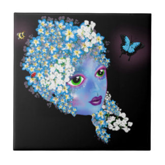 ForgetMeNot blue flower fairy fantasy Art by LeahG Ceramic Tile