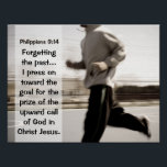 """Forgetting the past I press on, Philippians 3:14 Poster<br><div class=""""desc"""">Scripture inspirational poster depicts a man running and features Bible Verse Philippians 3:13-14.</div>"""