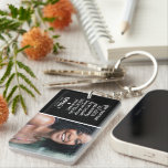 """Forgetting You Never Photo Memorial Keychain<br><div class=""""desc"""">A keychain for friends and family to carry a photograph of their loved one around with them forever,  featuring the sweet saying """" Your presence we miss. Your memory we treasure. Loving you always. Forgetting you never."""",  their name and the dates.</div>"""