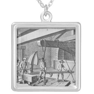 Forging an anchor, from 'Encyclopedia' by Denis Silver Plated Necklace
