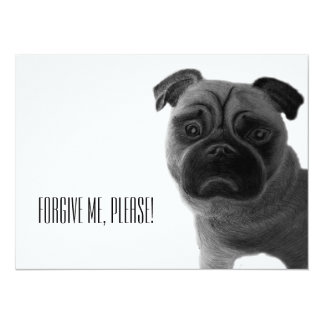 """Forgive me, please!"" with sad pencil drawn pug Card"