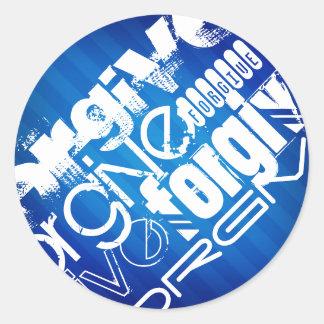 Forgive; Royal Blue Stripes Round Sticker
