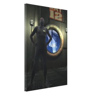 Forgotten Robot Sentry Stretched Canvas Print