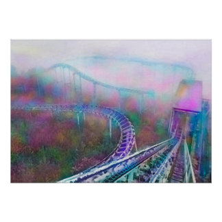 Forgotten Thrill Ride Photograph in Watercolor Poster