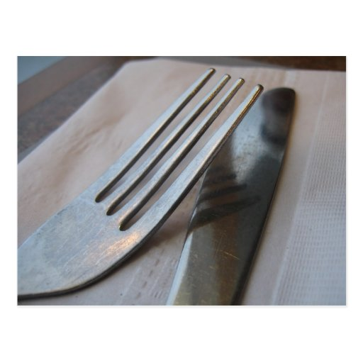 Fork and Knife Close-Up Postcard