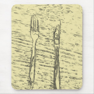 fork and knife mouse pad