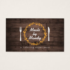 Fork And Knife Wreath On Woodgrain Catering, Chef Business Card at Zazzle