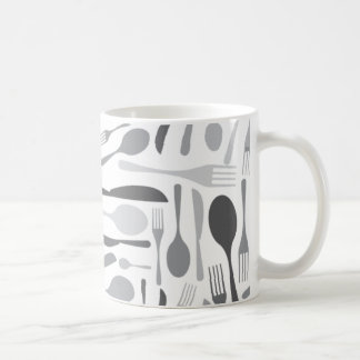 Fork and Knives Kitchen Chef Pattern Grey Coffee Mug