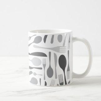 Fork and Knives Kitchen Chef Pattern Grey Coffee Mug