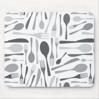Fork and Knives Kitchen Chef Pattern Grey Mousepad