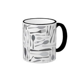 Fork and Knives Kitchen Chef Pattern Grey Ringer Coffee Mug