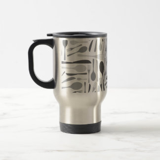 Fork and Knives Kitchen Chef Pattern Grey Coffee Mugs